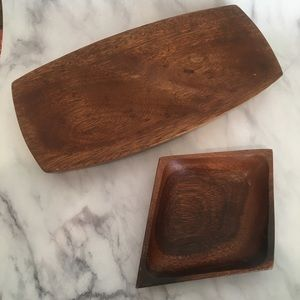 Other - Set of 2 Vintage Carved Wooden Candy/Nut Dishes